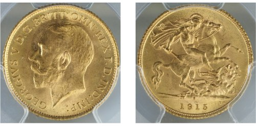 Australia 1915S Half Sovereign PCGS MS65