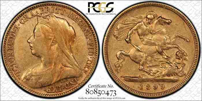 Australia 1899M Half Sovereign PCGS XF40
