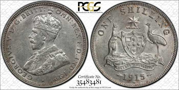 Australia 1915 Birmingham Shilling PCGS AU55