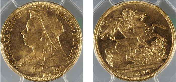 Australia 1896M Veiled Head Sovereign PCGS MS63