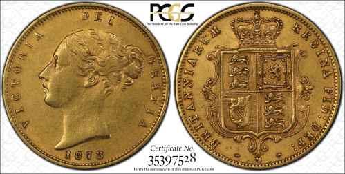 Australia 1873 Melbourne Half Sovereign PCGS AU55