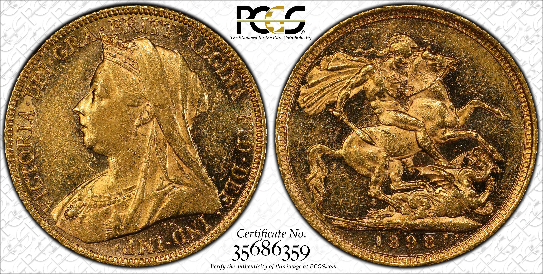 Australia 1898 Sydney Sovereign PCGS AU58