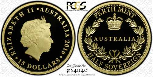 Australia 2016 Half Sovereign PCGS PR69