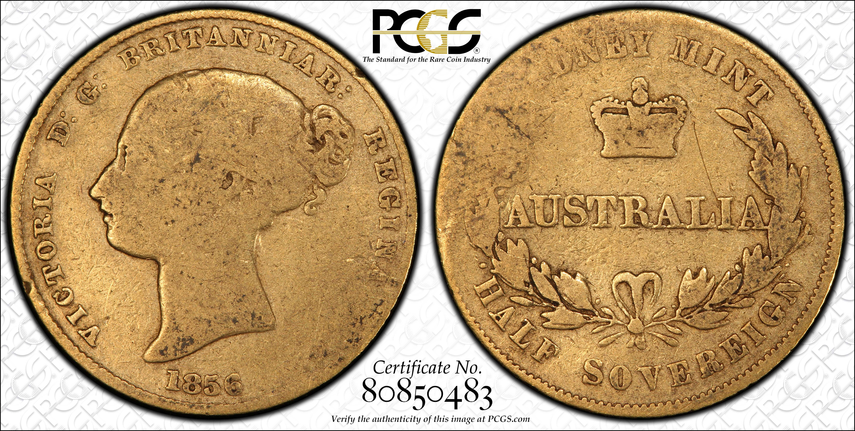 Australia 1856S Half Sovereign Type 2 Reverse PCGS G04