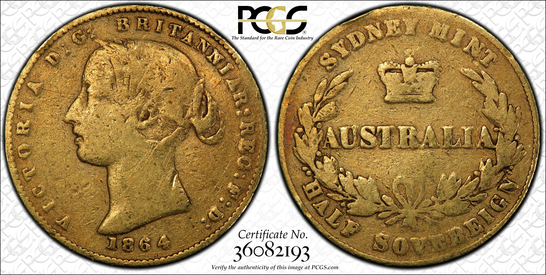 Australia 1864S Half Sovereign PCGS VG10