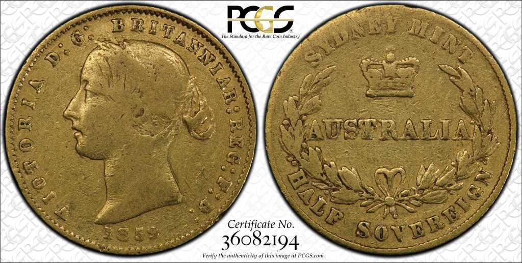 Australia 1859 Half Sovereign PCGS F12