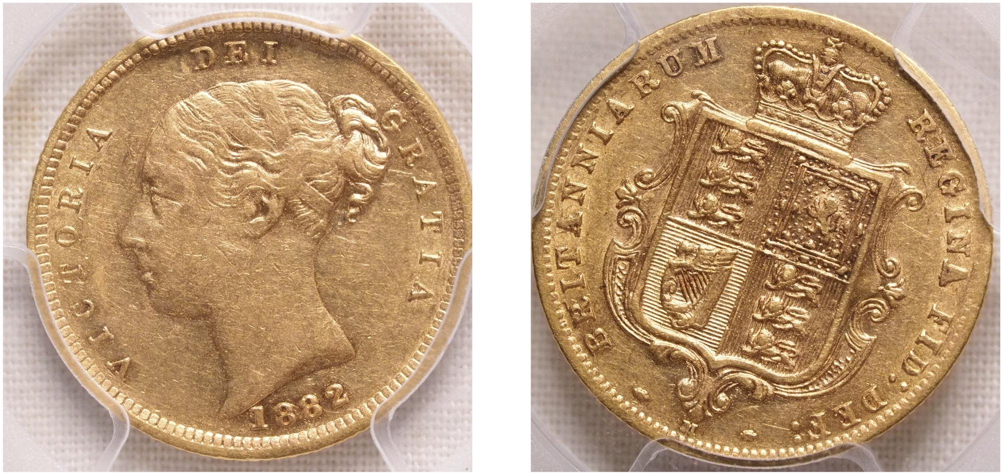 Australia 1882 Melbourne Half Sovereign PCGS AU53