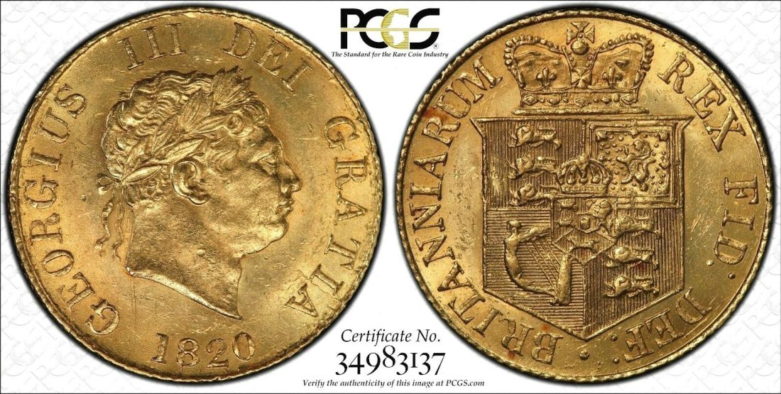 Great Britain 1820 Half Sovereign PCGS MS62
