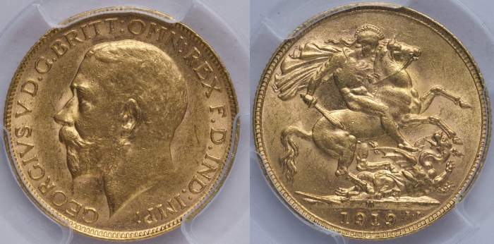 Australia 1919 Melbourne Sovereign PCGS MS62