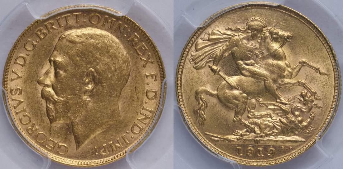 Australia 1919 Melbourne Sovereign PCGS MS62
