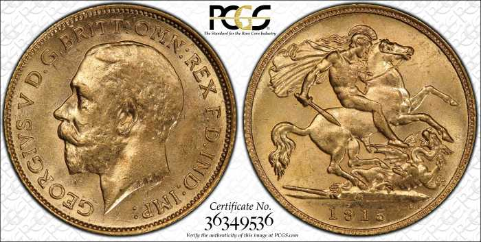 Australia 1915 Melbourne Half Sovereign PCGS MS62