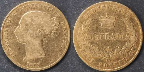 Australia 1856 Sydney Half Sovereign G Details Grade