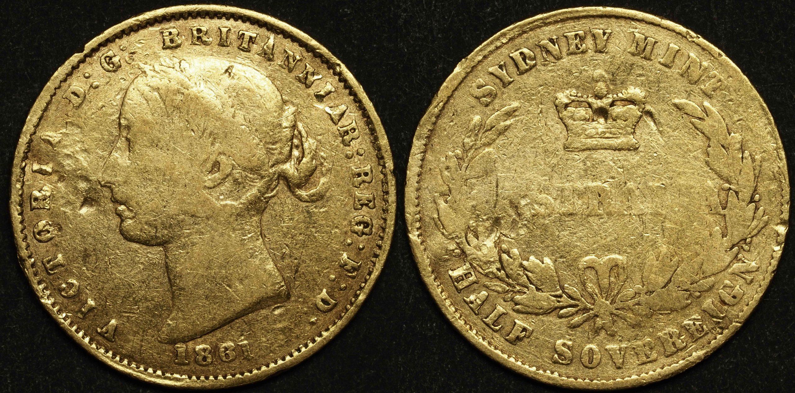Australia 1861 Sydney Half Sovereign VG Details