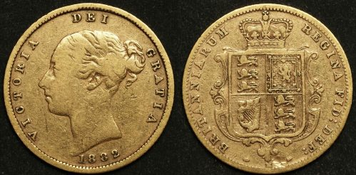 Australia 1882M Sixth Head Half Sovereign VF