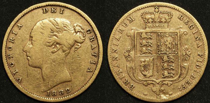 Australia 1882M Sixth Head Half Sovereign VF