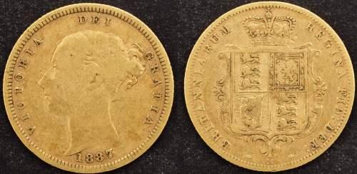 Australia 1887 Melbourne Half Sovereign F