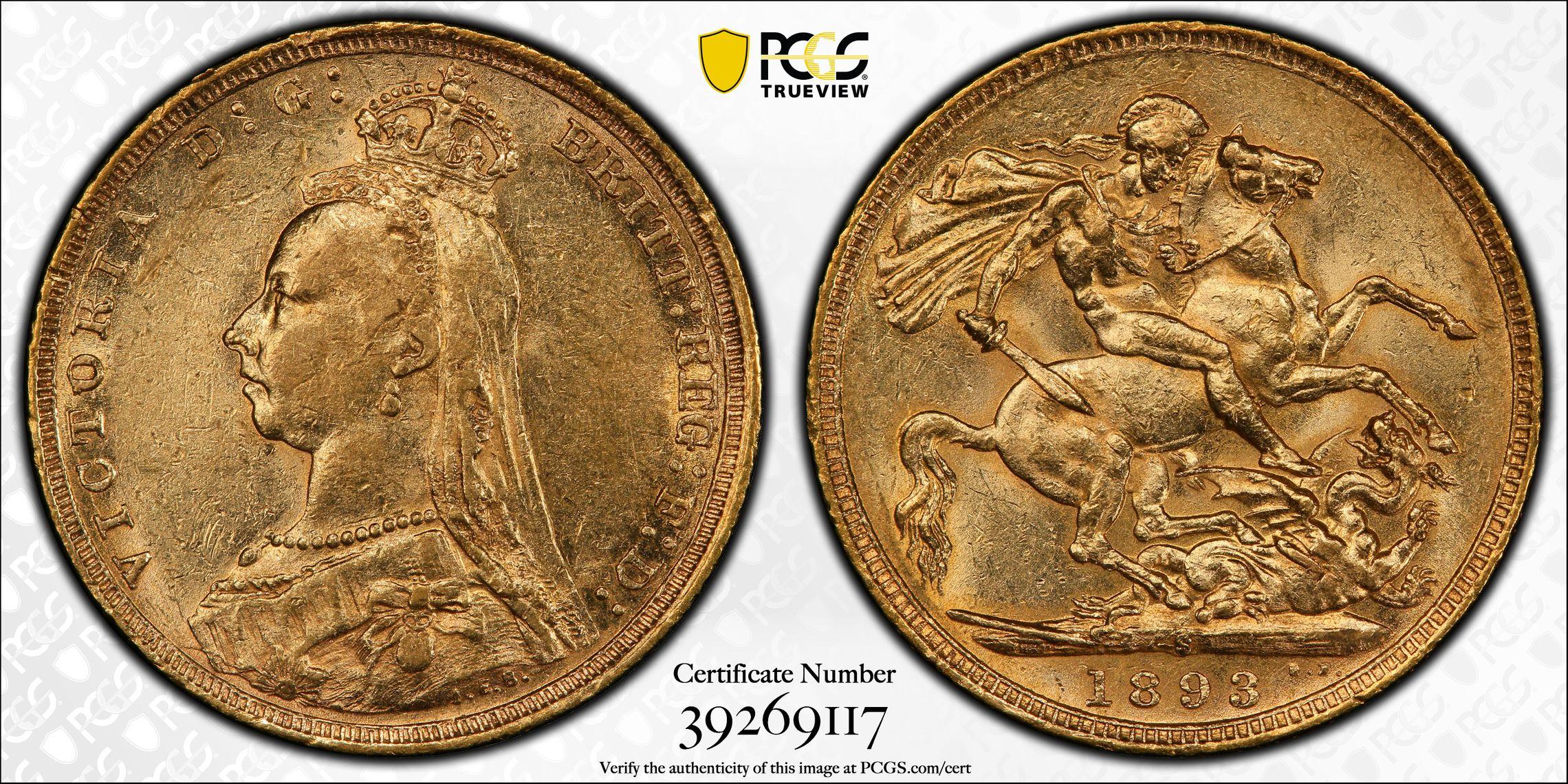 Australia 1893 Sydney Jubilee Sovereign PCGS AU55