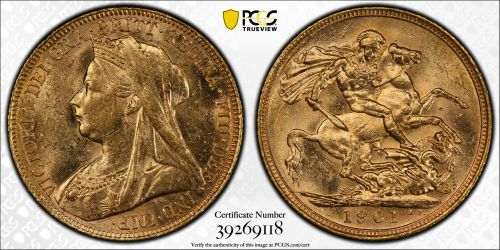 Australia 1901 Sydney Sovereign PCGS MS61