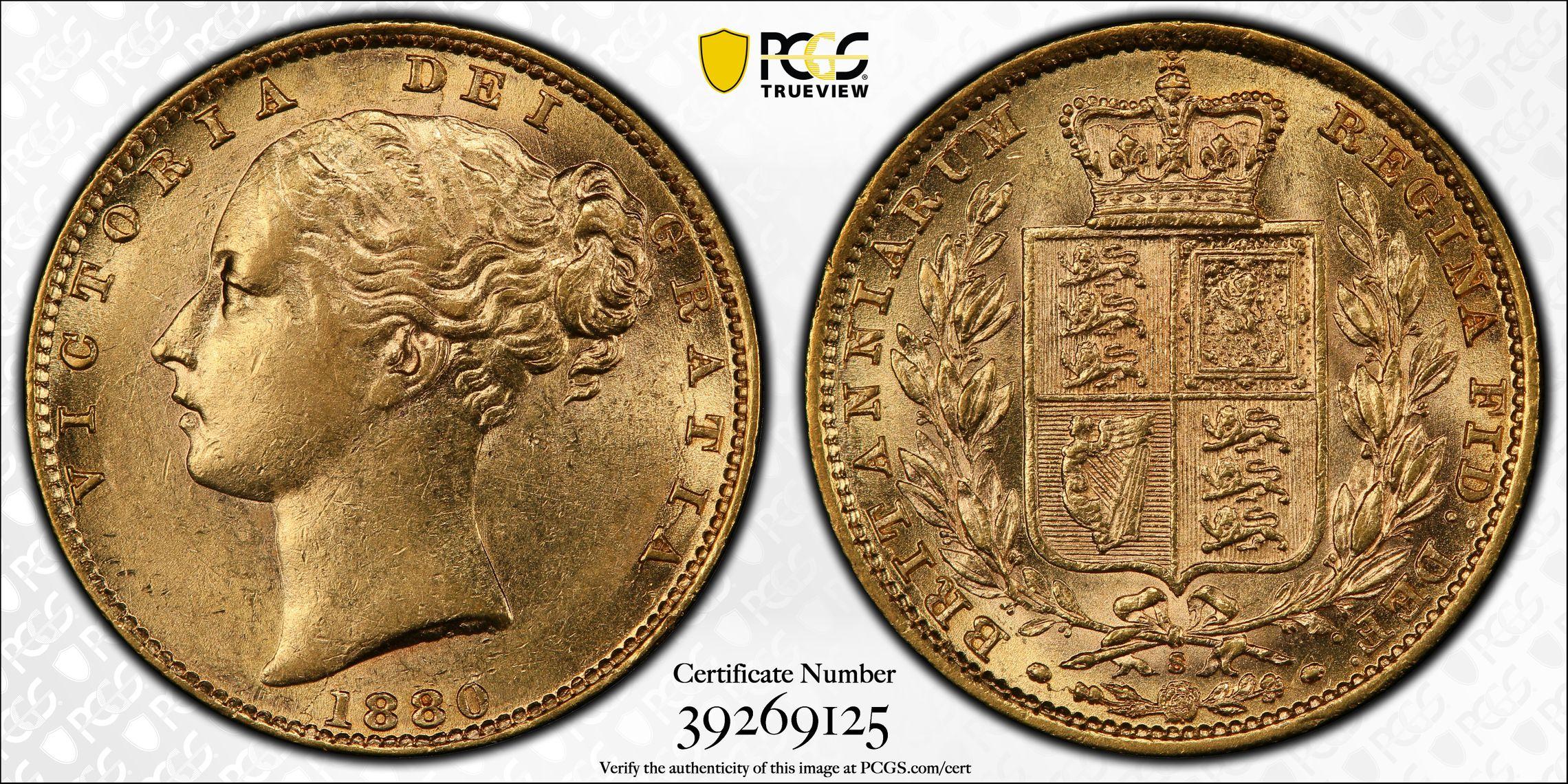 Australia 1880 Sydney Sovereign PCGS AU58