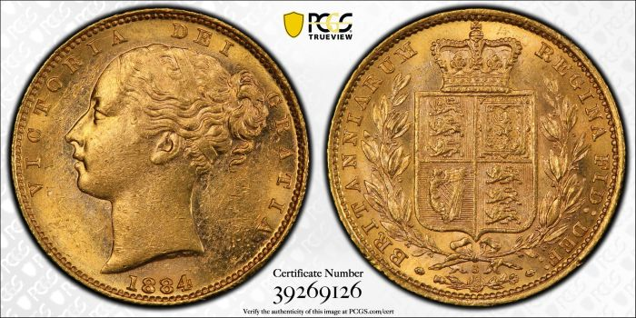 Australia 1884 Sydney Sovereign PCGS MS61