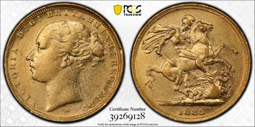 Australia 1883 Melbourne Sovereign PCGS AU50