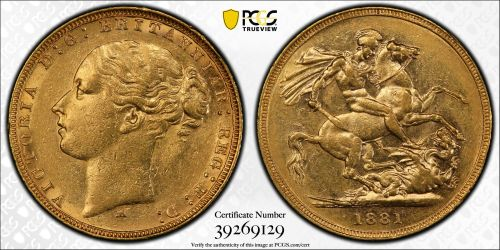 Australia 1881 Melbourne Sovereign PCGS AU55