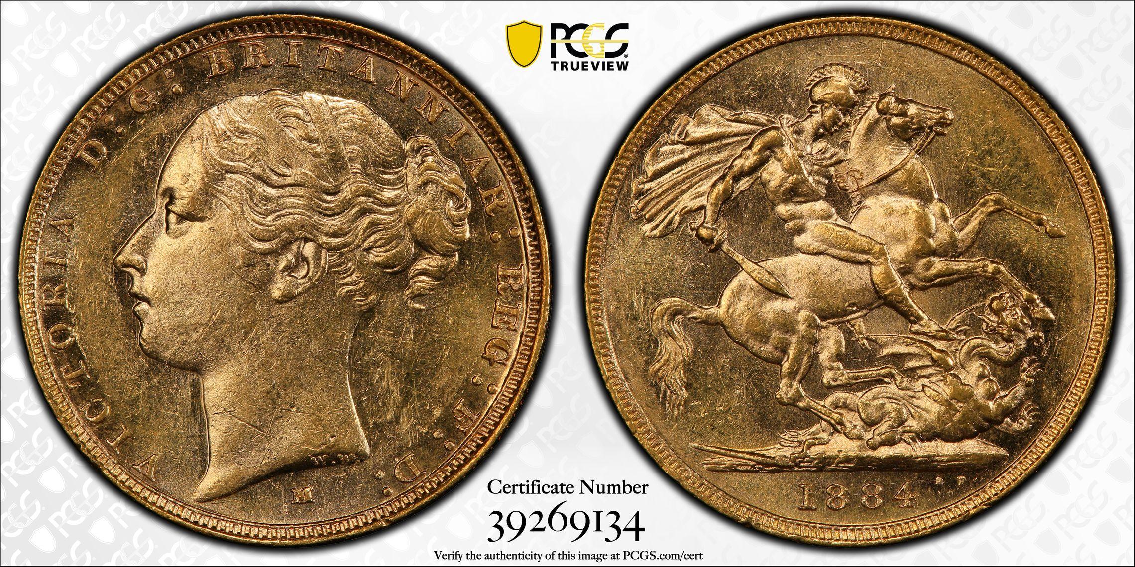 Australia 1884 Melbourne Sovereign PCGS AU58