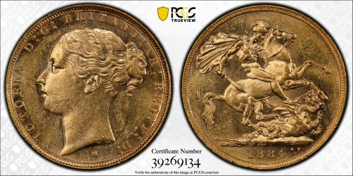 Australia 1884 Melbourne Sovereign PCGS AU58