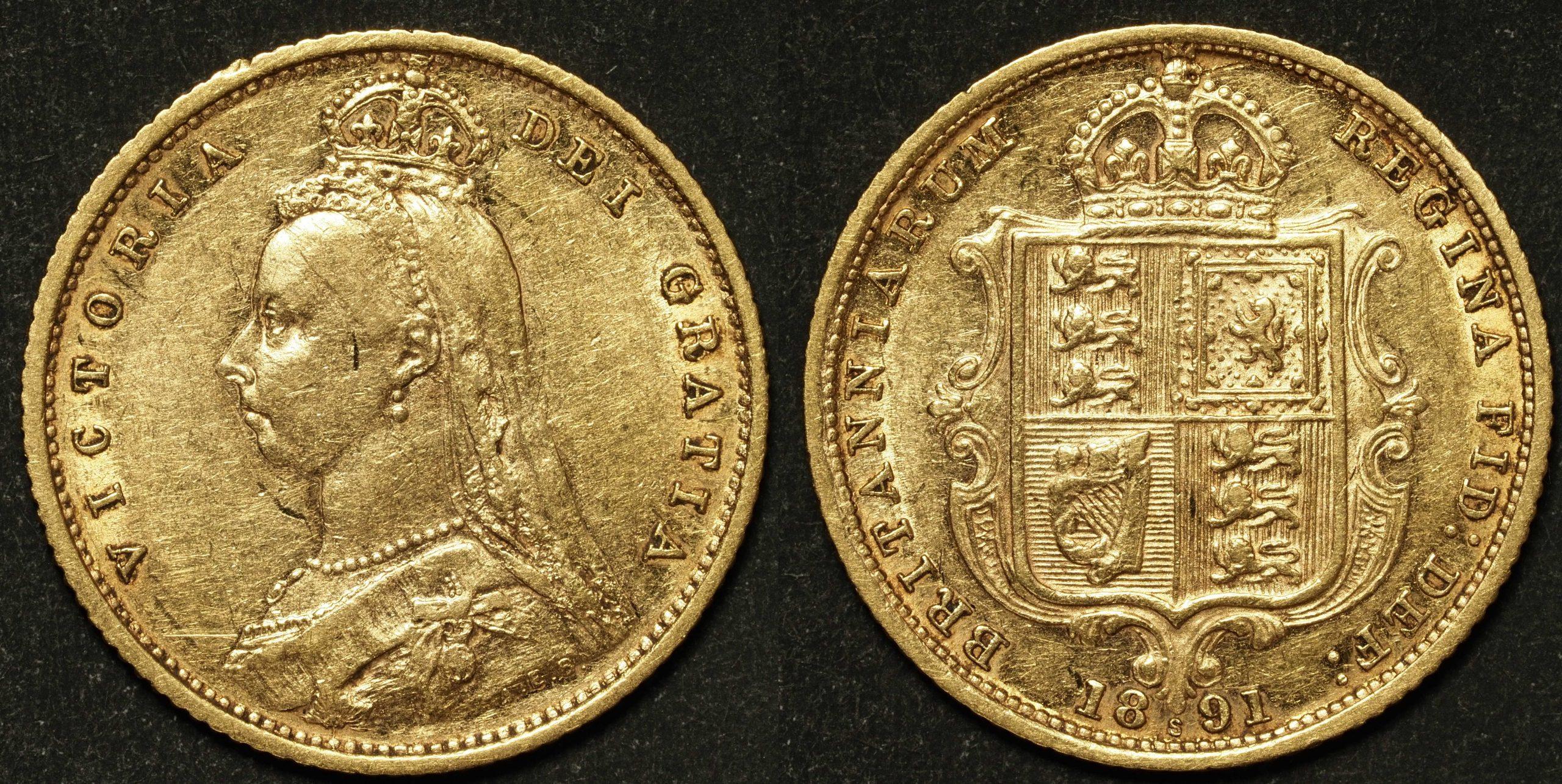 Australia 1891 Sydney JEB Half Sovereign VF Details