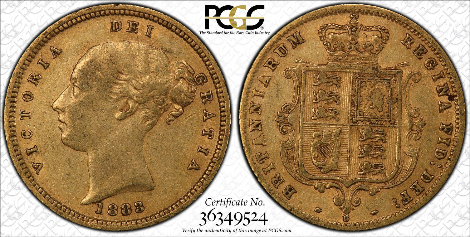 Australia 1883 Sydney Half Sovereign PCGS AU50