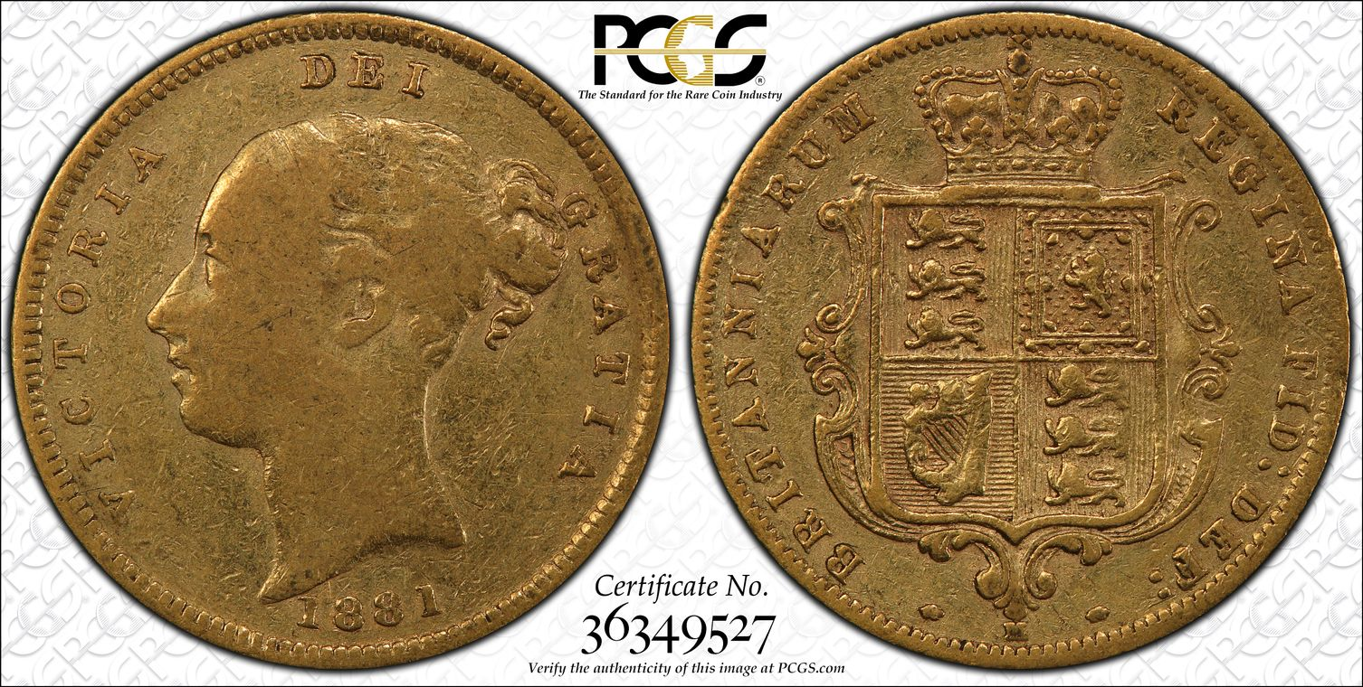 Australia 1881 Melbourne Half Sovereign PCGS VF20