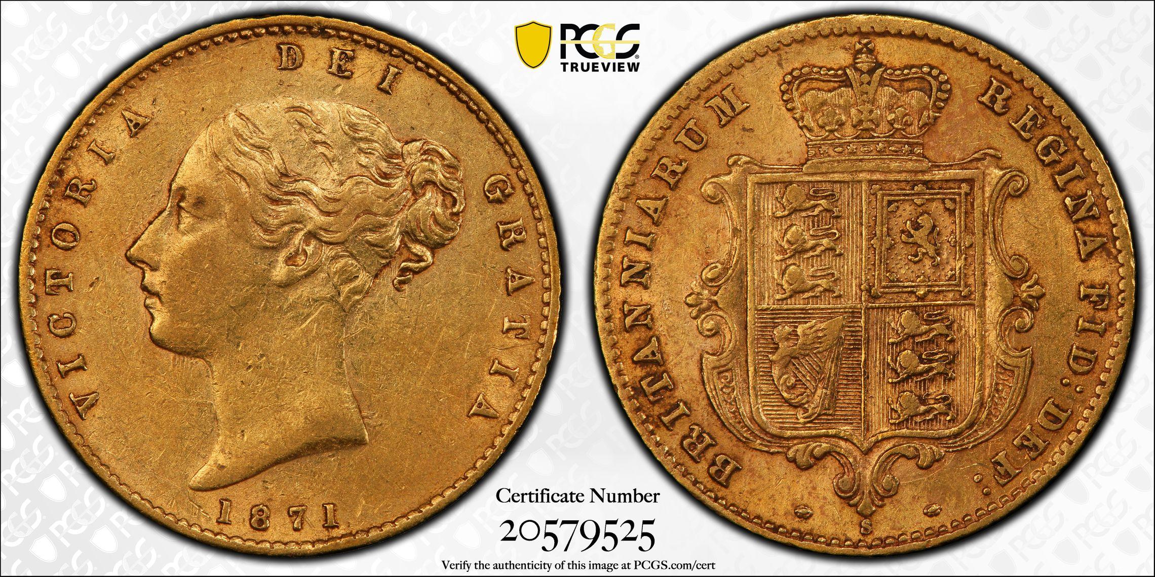 Australia 1871 Sydney Half Sovereign PCGS AU53