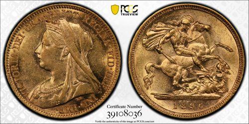 Australia 1896 Melbourne Half Sovereign PCGS AU55