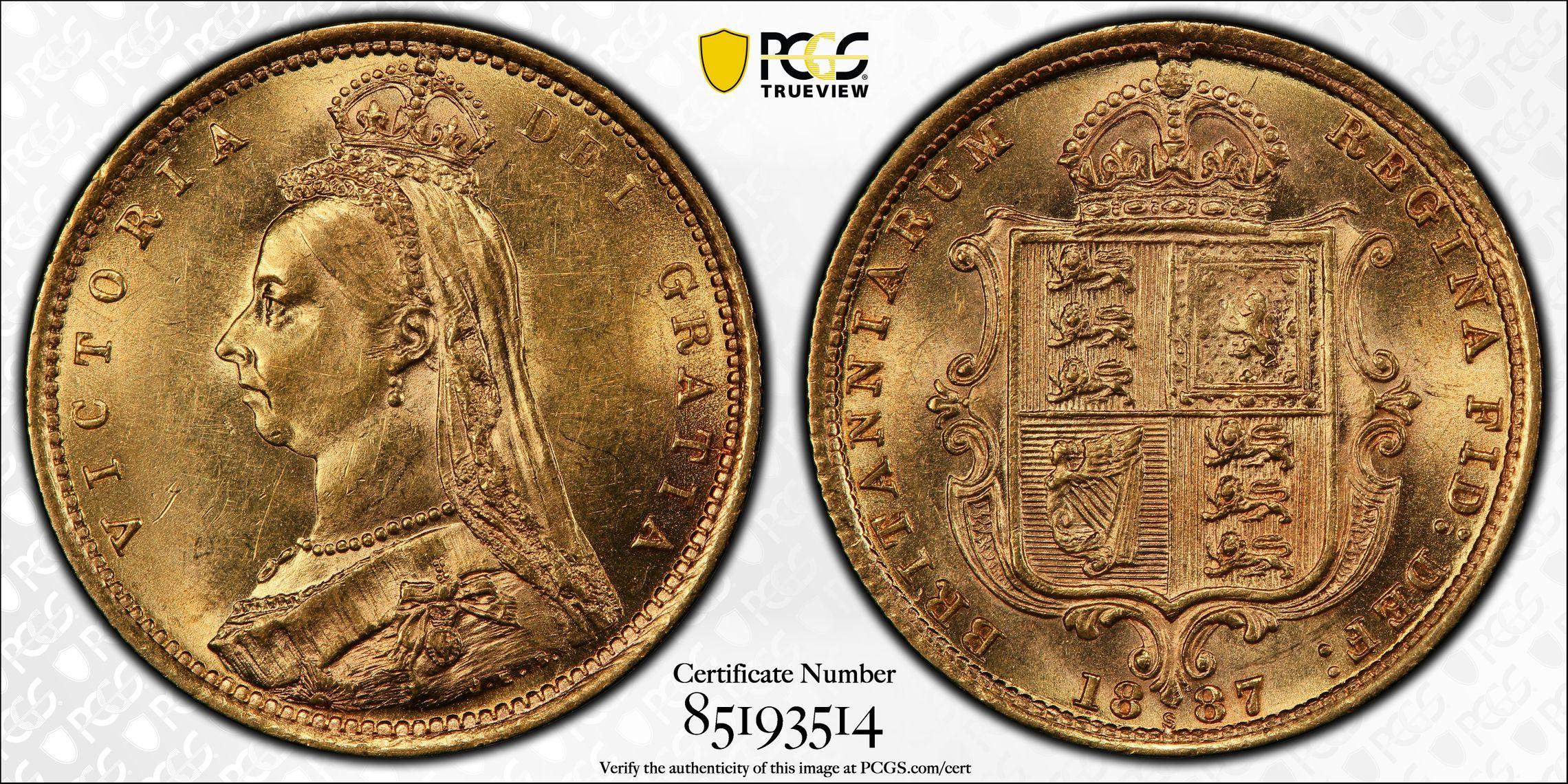 Australia 1887 Sydney Half Sovereign PCGS MS62