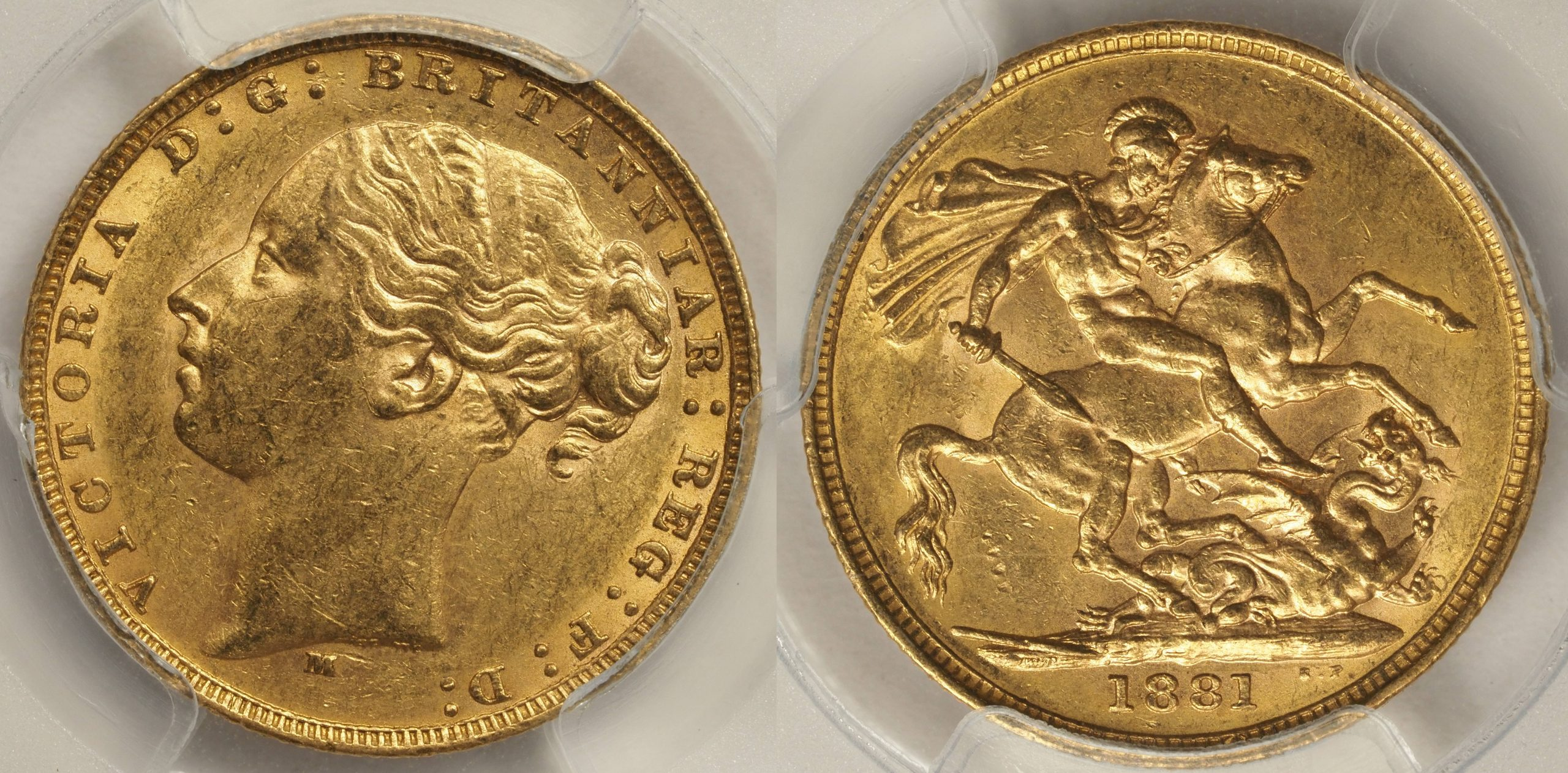 Australia 1881 Melbourne Sovereign PCGS AU58