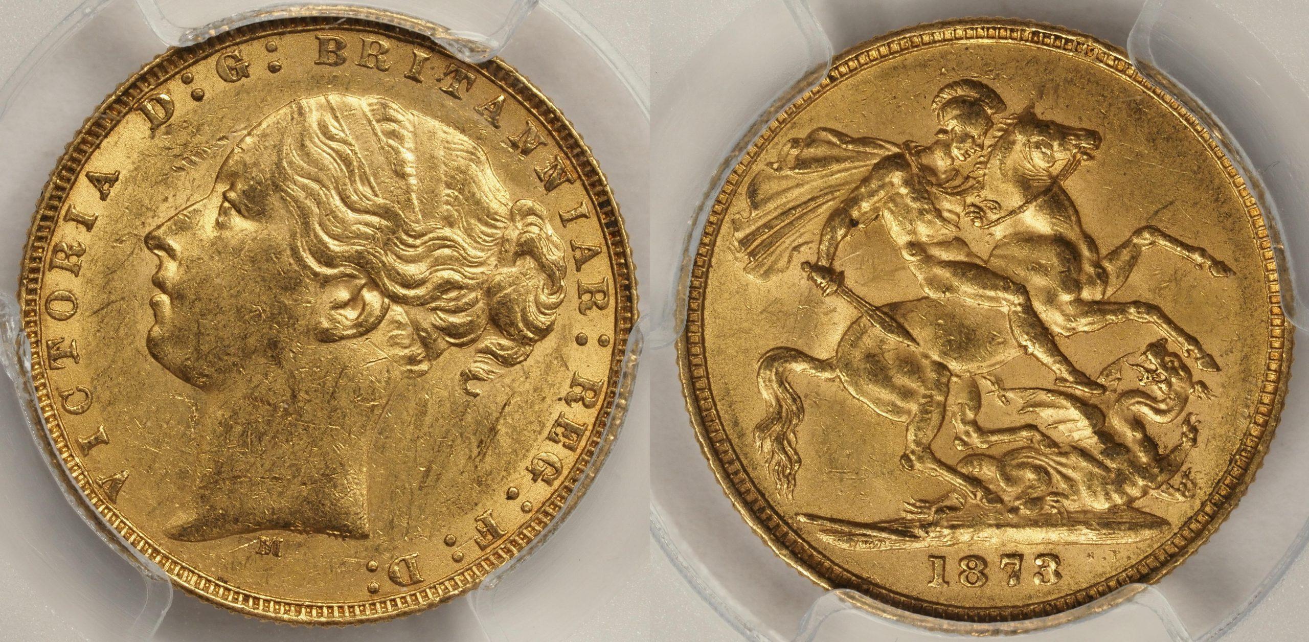 Australia 1873 Melbourne Sovereign PCGS AU58