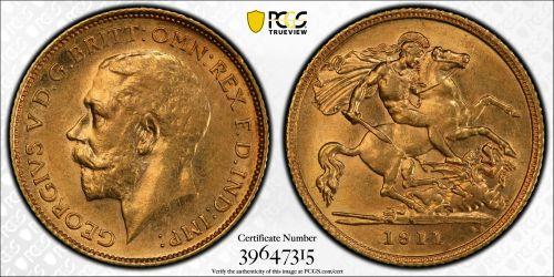 Australia 1911 Sydney Half Sovereign PCGS AU58