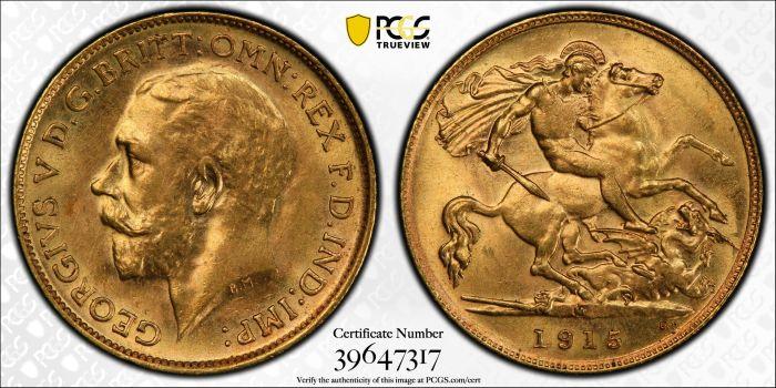 Australia 1915 Melbourne Half Sovereign PCGS MS62