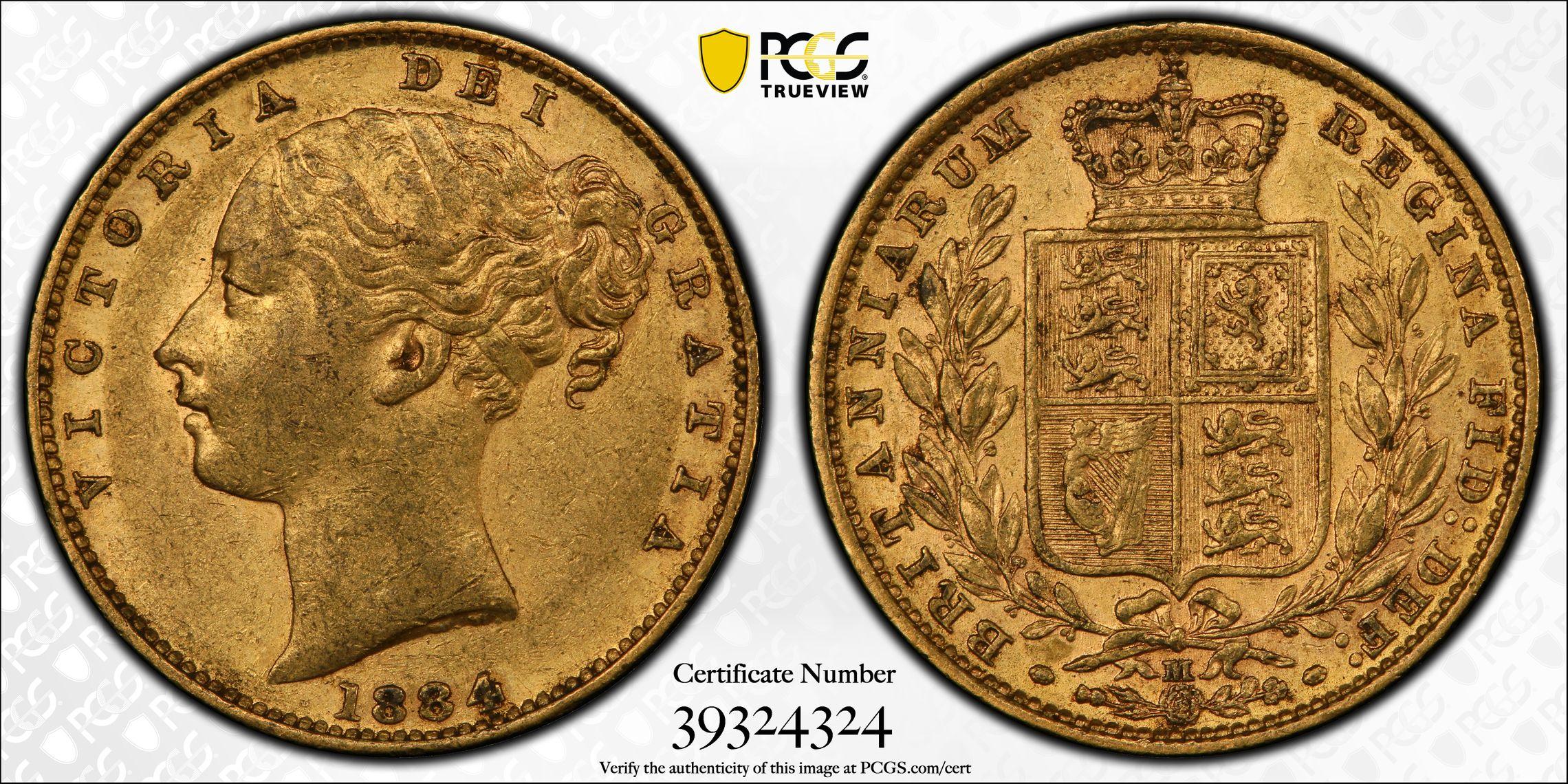 Australia 1884 Melbourne Sovereign PCGS AU50