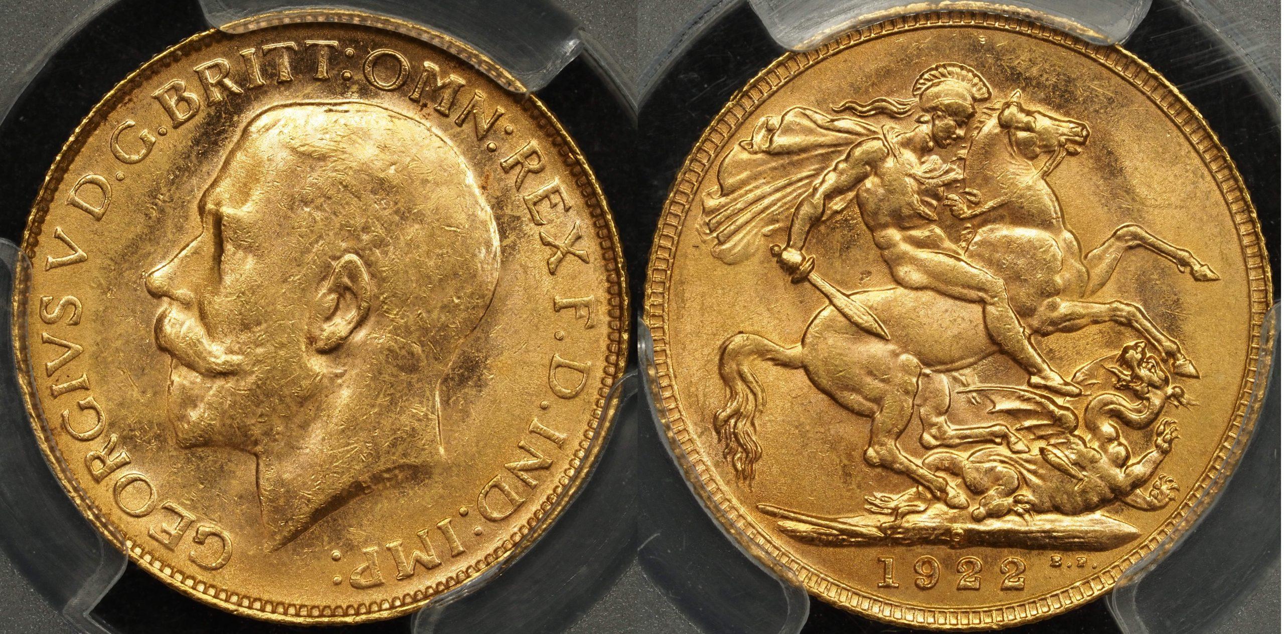 Australia 1922 Perth Sovereign PCGS MS62