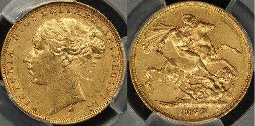 Australia 1879 Melbourne Sovereign PCGS AU58