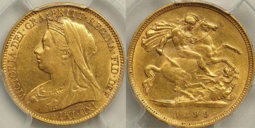 Australia 1899 Melbourne Half Sovereign - PCGS AU53