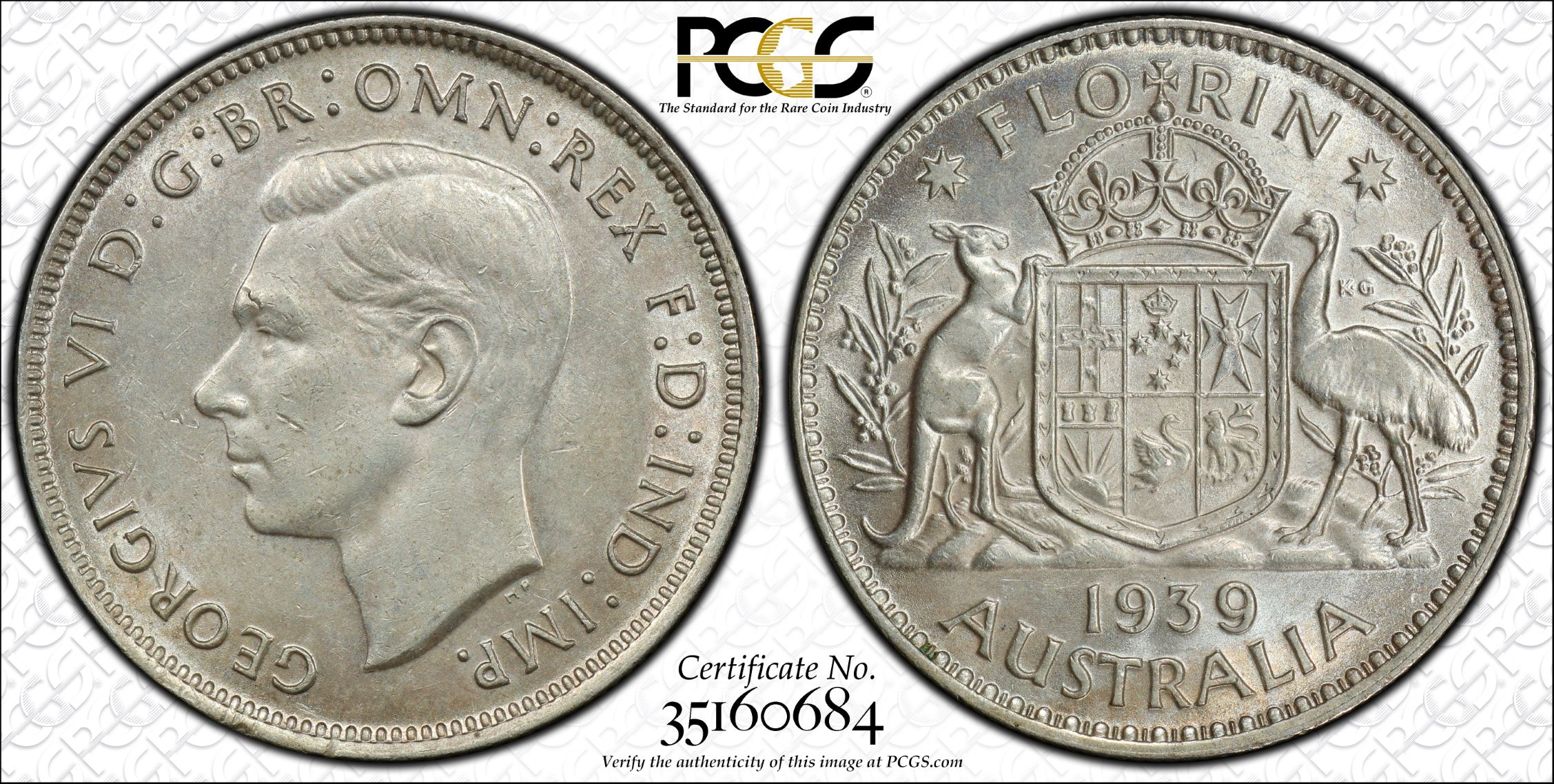 Australia 1939 Florin PCGS AU58