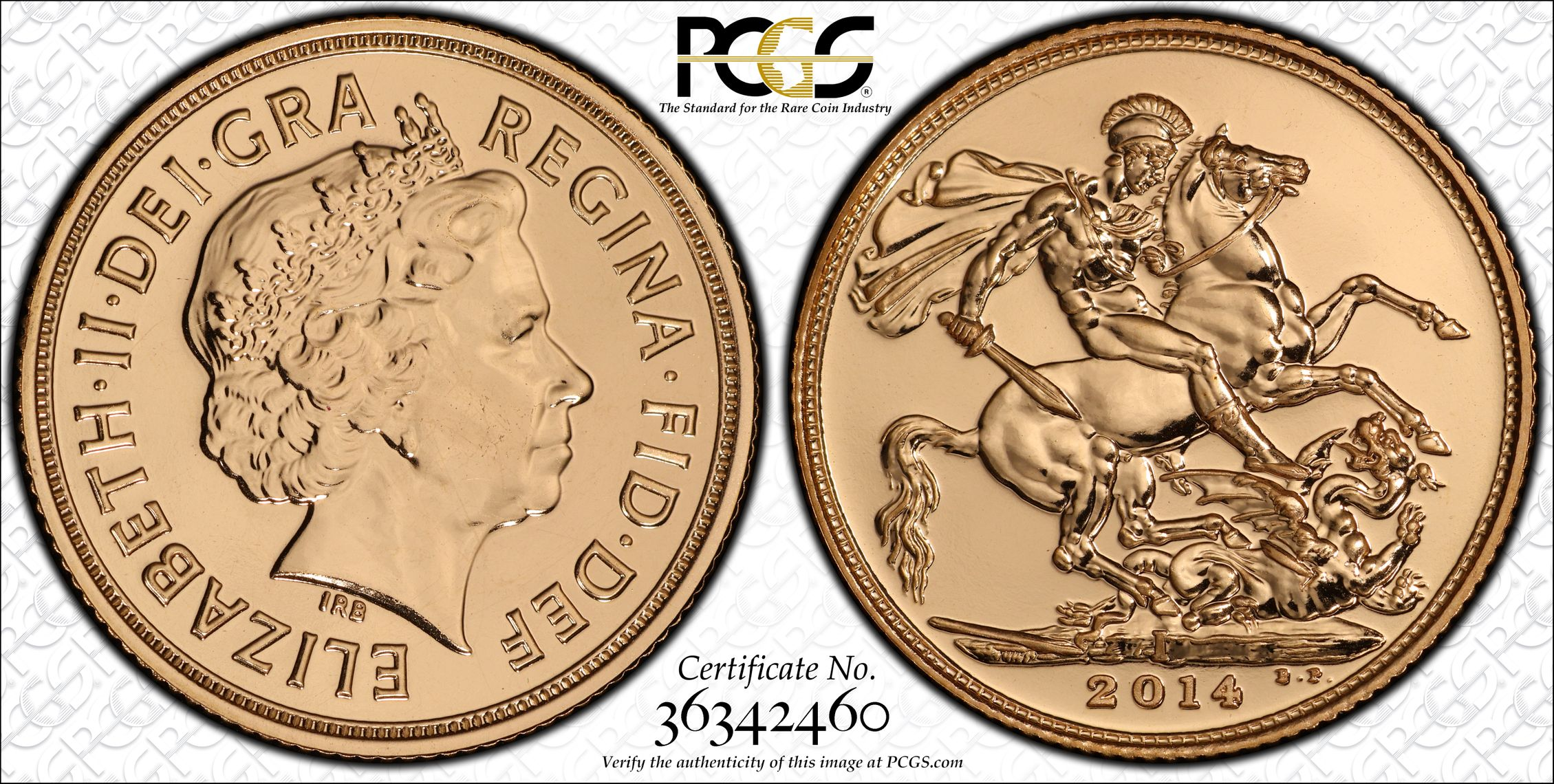 India 2014 Sovereign - PCGS MS68