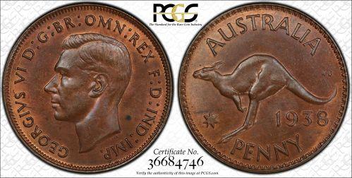 Australia 1938 Melbourne Penny - PCGS MS63BN