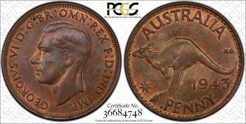 Australia 1943-I Penny PCGS MS63BN