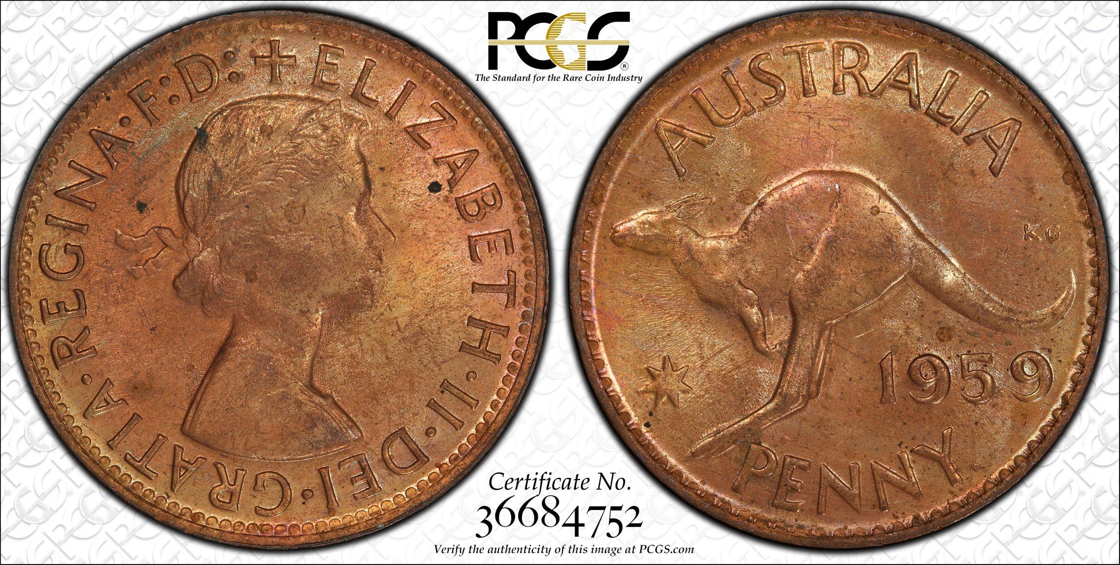 Australia 1959 Perth Penny - PCGS MS63RB