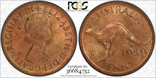 Australia 1959 Perth Penny - PCGS MS63RB