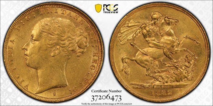 Australia 1882 Sydney Sovereign - PCGS AU58