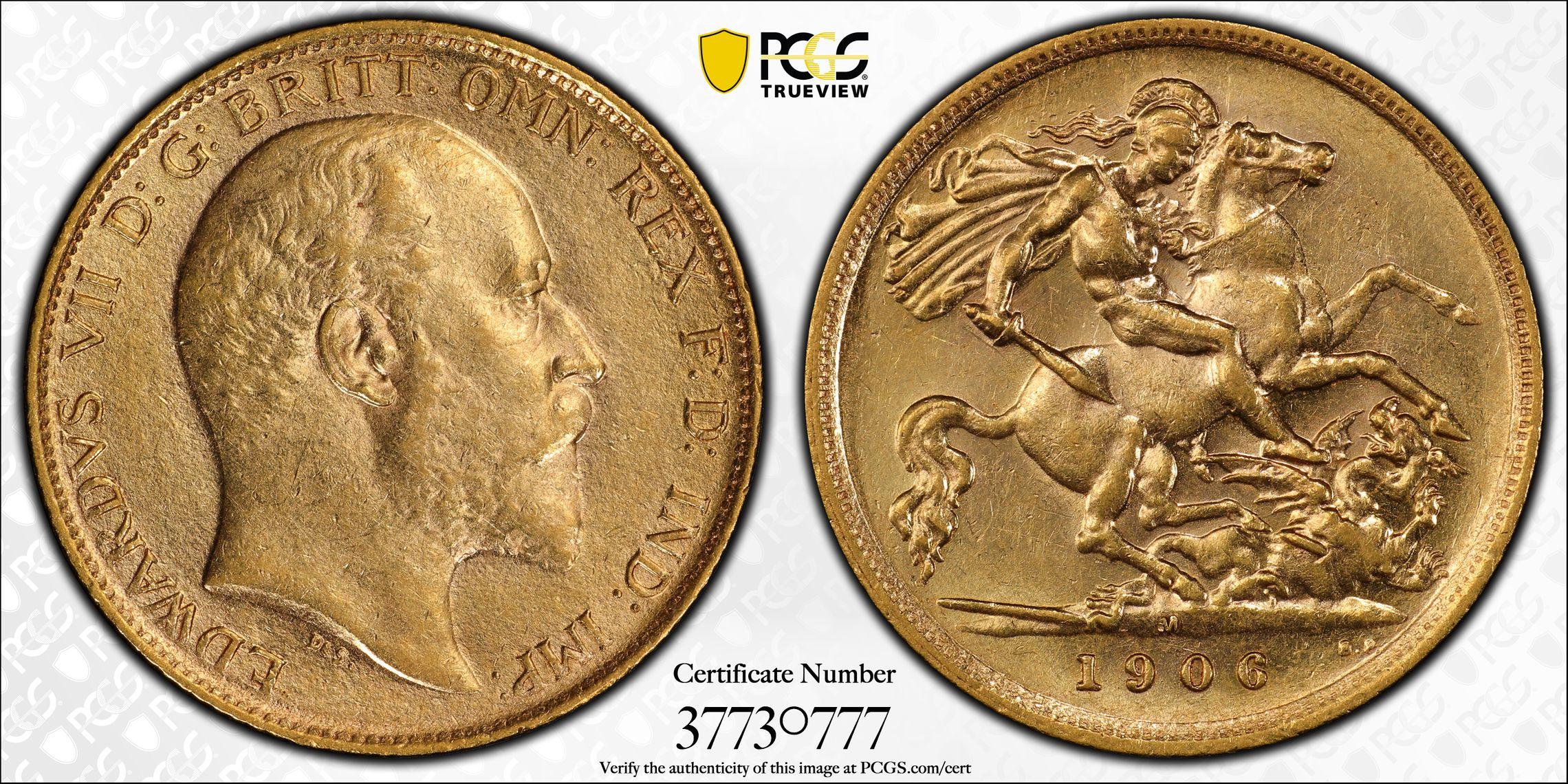Australia 1906 Melbourne Half Sovereign - PCGS AU55